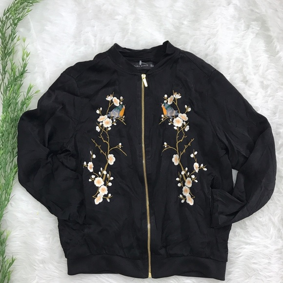 50f4bd5df Zara Black Satin Bird Embroidered Bomber Jacket XS